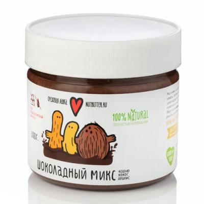 Паста шоколадный микс из жареного кешью, кокоса и арахиса, 320г