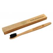 Зубная щетка из бамбука с угольным напылением средней жесткости